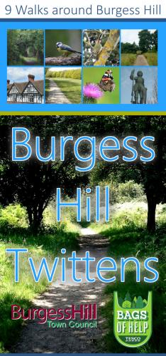 Cover image of the Burgess Hill Twittens Walk leaflet, image links to a PDF of the Twittens Walk leaflet.