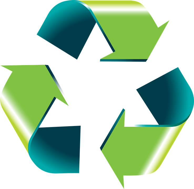Recycling symbol, image links to Recycle for West Sussex website