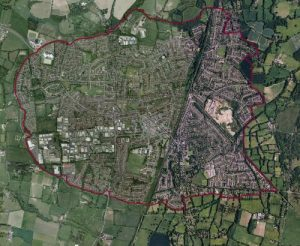 Aerial photograph of Burgess Hill showing the boundary covered by the Neighbourhood Plan