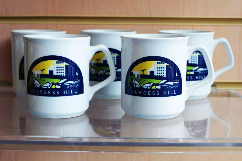 Photograph of Burgess Hill logo mugs