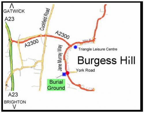 Map location of burial ground