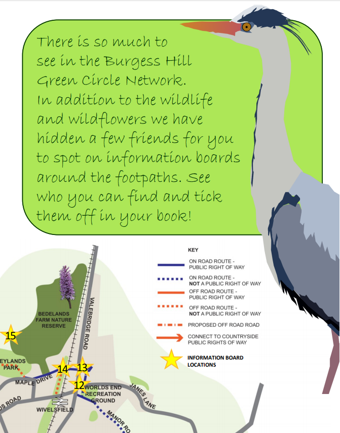 An image showing a page from the Green Circle Spotters Guide leaflet, text: 'There is so much to see in the Burgess Hill Green Circle Network. In addition to the wildlife and wildflowers we have hidden a few friends for you to spot on information boards around the footpaths. See who you can find and tick them off in your book!'