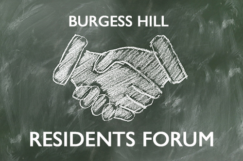 Decorative graphic reads Burgess Hill Residents Forum, with an image of two hands shaking