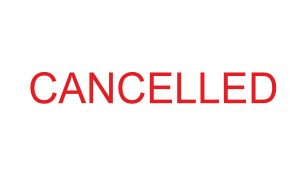 Notice containing the word 'cancelled' in red writing