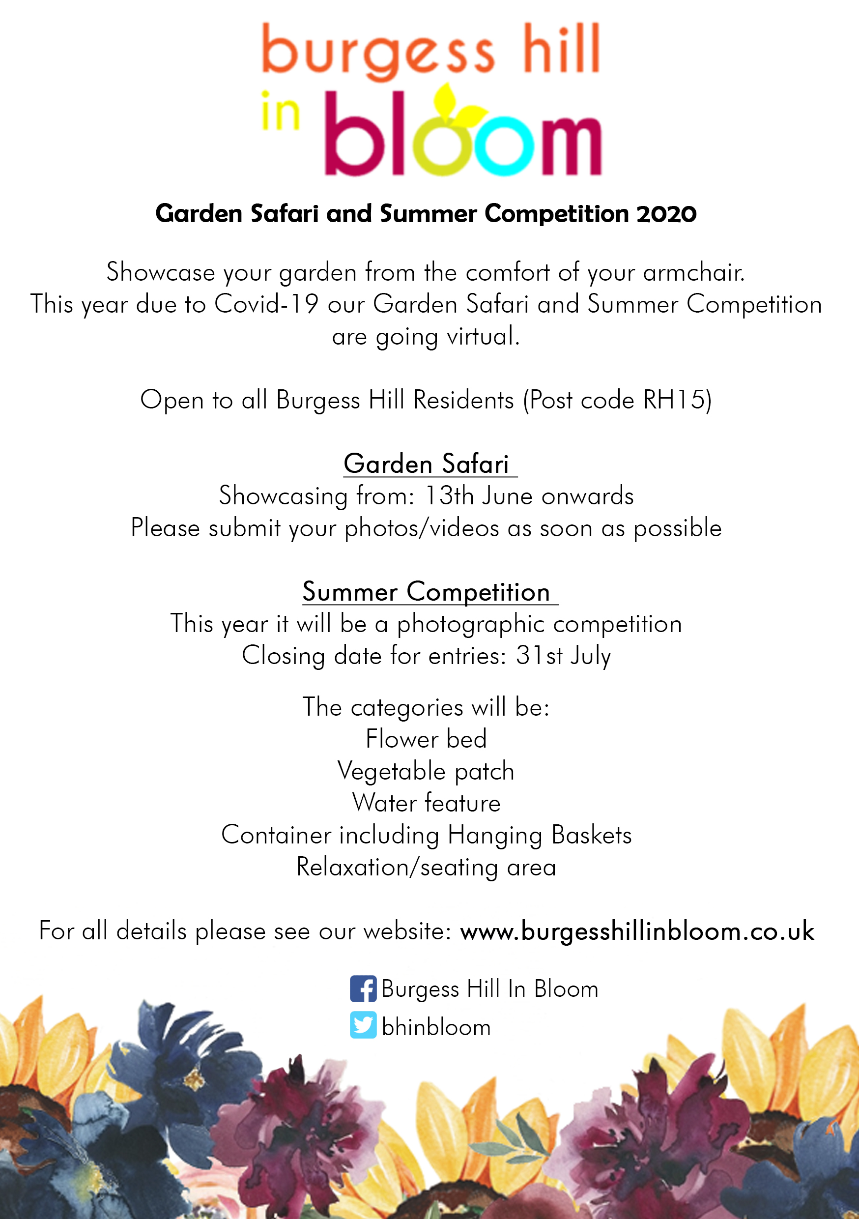 Burgess Hill in Bloom Virtual Garden Safari and Summer Competition