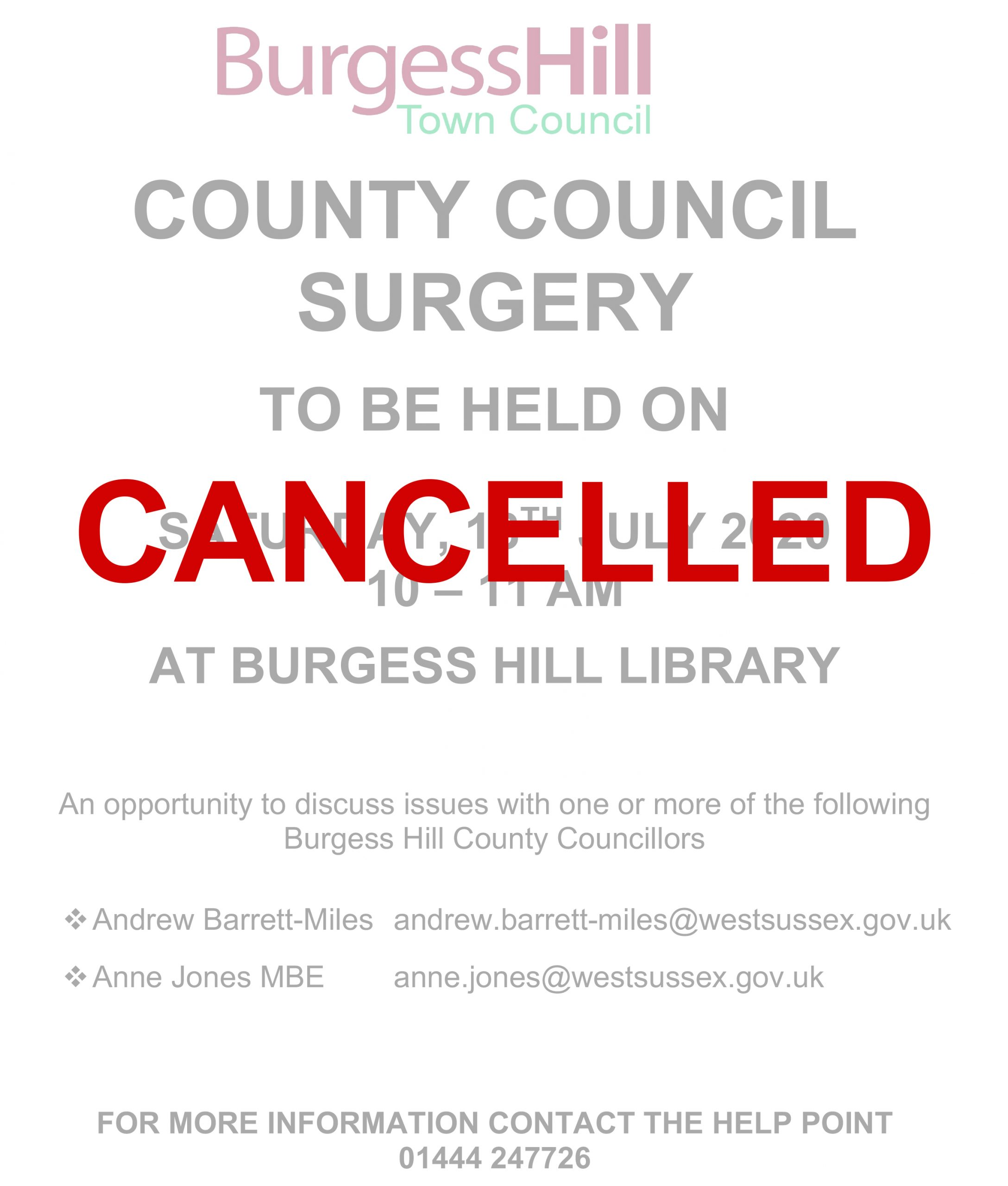 County Council Surgery 18 July – CANCELLED
