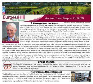 Page of the Annual Town Report 2019/20, image links to a PDF of the Annual Town Report