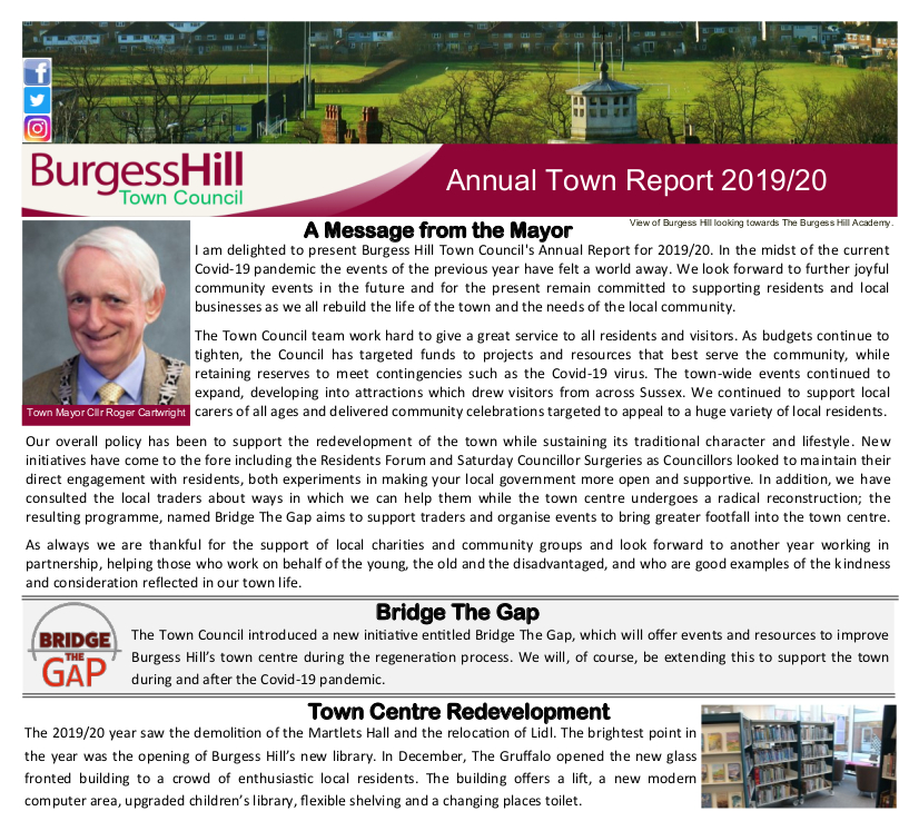 Cover of the Annual Town Report 2019/20, image links to a PDF of the report.