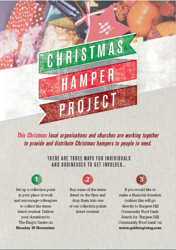 Christmas Hamper Project Flyer, image links to a PDF of the flyer