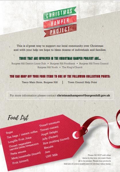 Christmas Hamper Flyer, image links to PDF of flyer