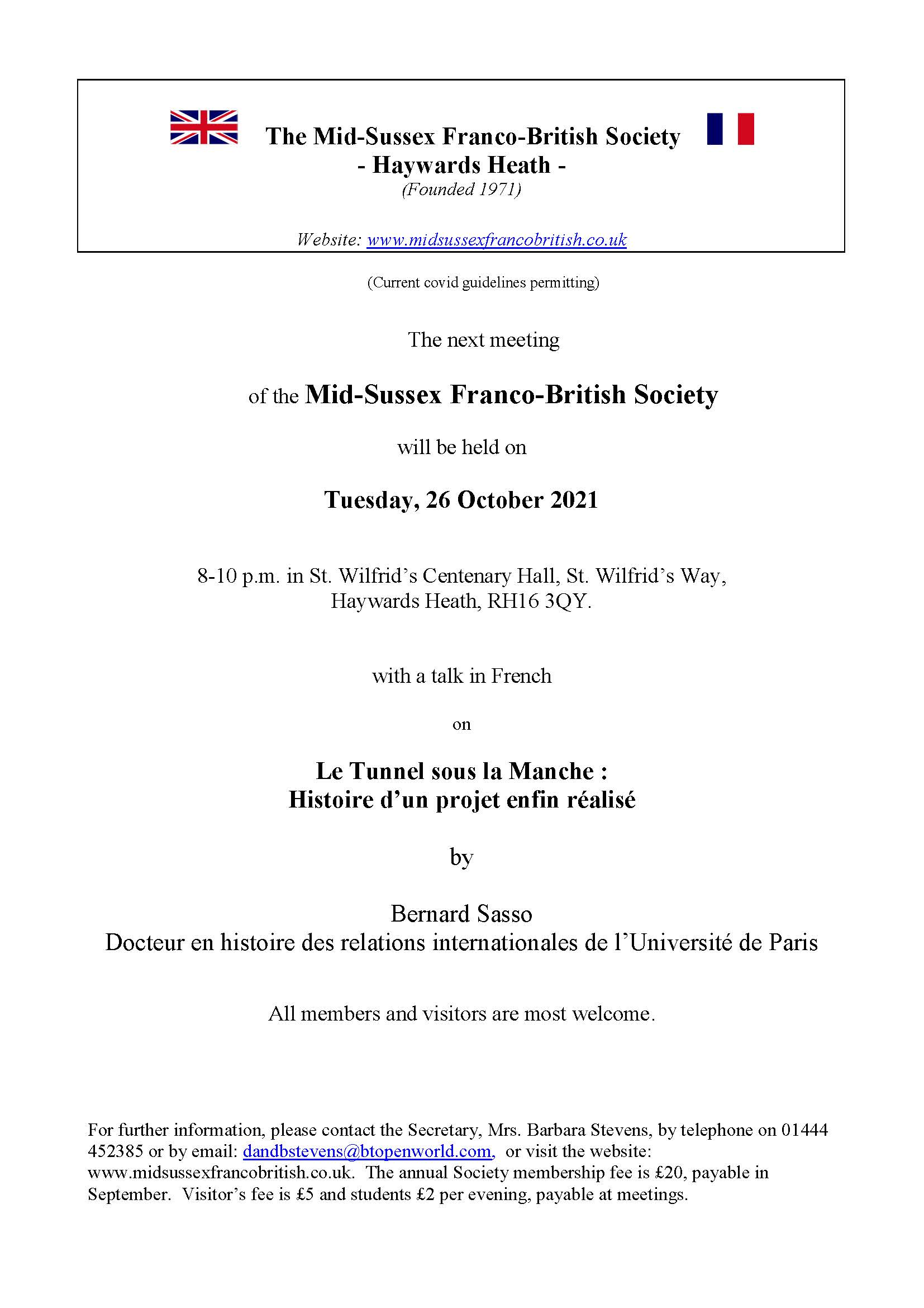 Mid Sussex Franco-British Society Channel Tunnel Talk