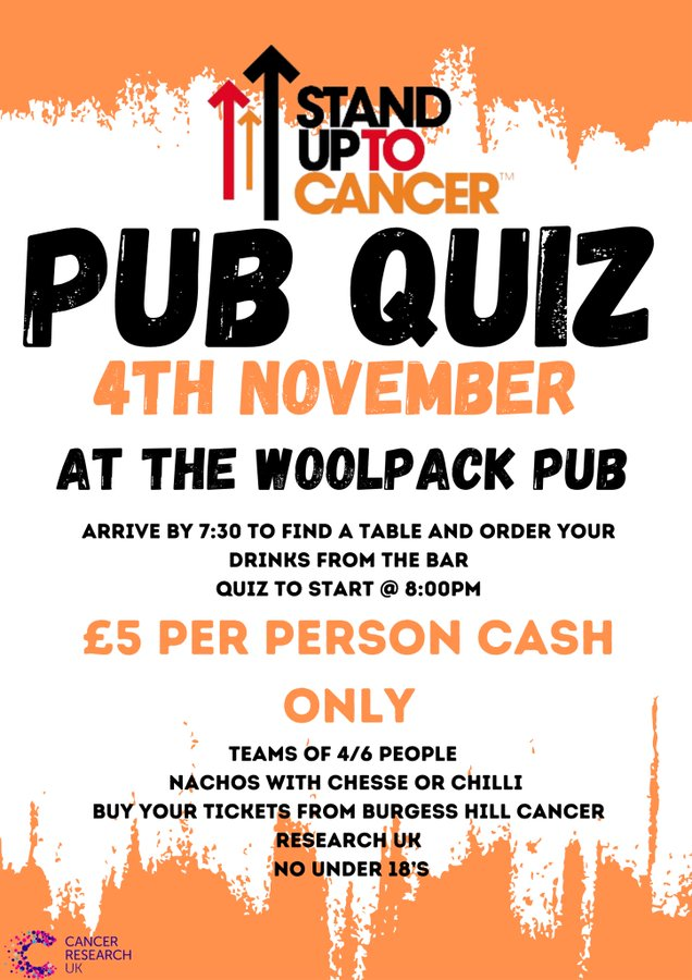 Stand Up to Cancer Pub Quiz